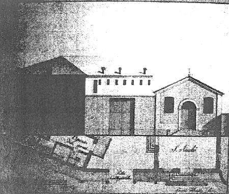 Prospetto della Chiesa S. Nicolò (1775) e Opificio De' Pazzi (1755) con muro di cinta (A.S.MO. mappe ECA)
