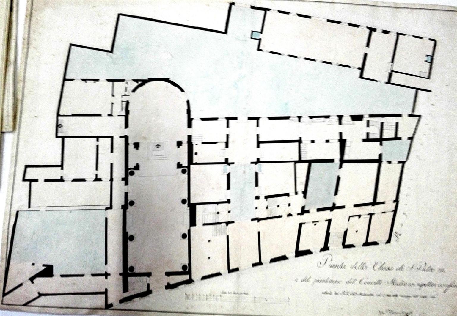 Planimetria di Chiesa di S. Pietro Martire e Convitto Medico – 1822 (A.S.MO mappe ECA)
