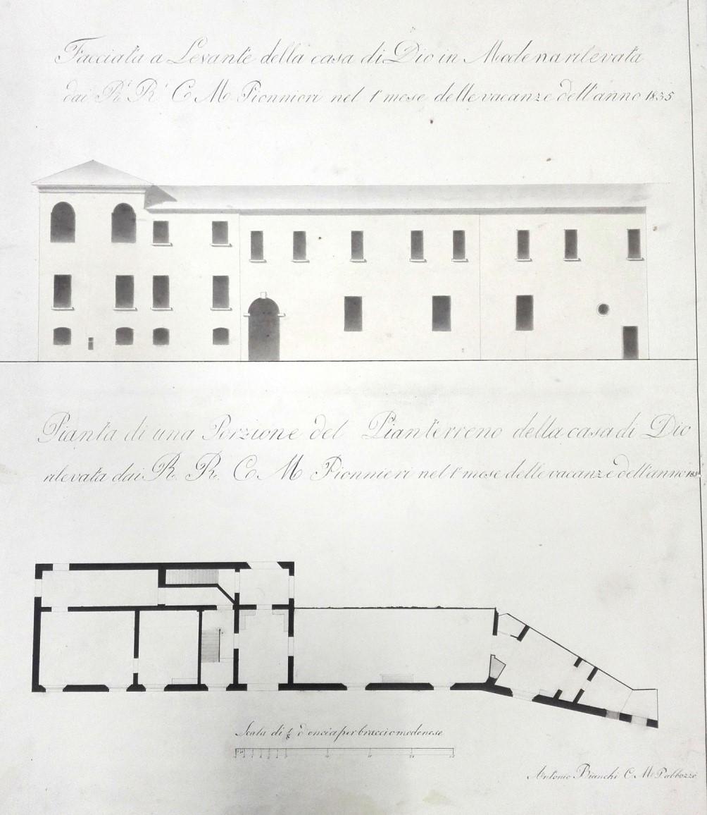 Pianta e facciata della Casa Di Dio – rilievo 1835 (A.S.C.MO mappe ECA)